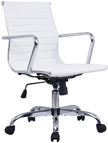 COSTWAY Silla Giratorio de Oficina PU Silla para Ordenador Escritorio Altura Ajustable Ergonómica Negro (Blanco)