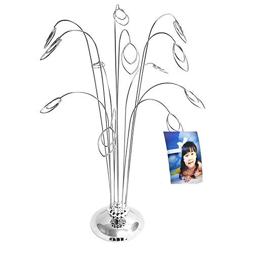 HOHIYA Photo Money Tree Holder Picture Stand Christmas Wedding Greeting Card Display Birthday Party Gift (Silver,Pack of 1)