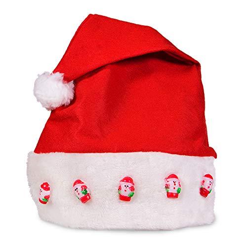 LED Light Up Blinking Festive Christmas Santa Hat - Family 12 Pack Red