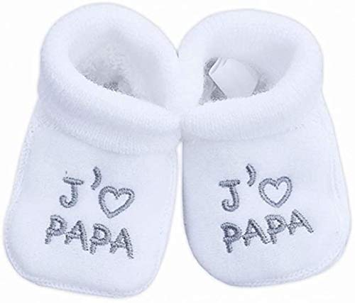 NOSBEBES® Chaussons bébé idée Cadeau bébé maternité ou idée Annonce de Grossesse (Blanc-JP)