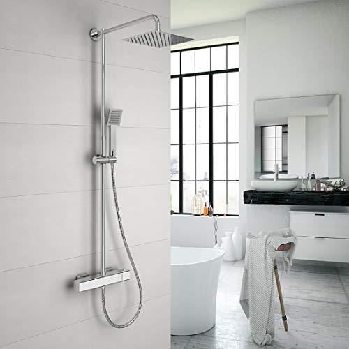 Duschset Duschsystem Thermostat Duscharmatur Regenduschset mit kopfbrause Duschstange und Handbrause Duschsäule, Material Chrom(Umweltfreundlich)