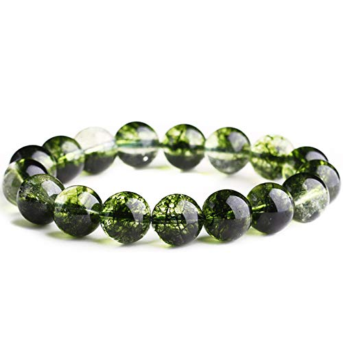WCOCOW Feng shui green ghost crystal bracelet healing crystal couple bangle Strong Talisman Amulet Attract Money Good Luck Protection,10mm