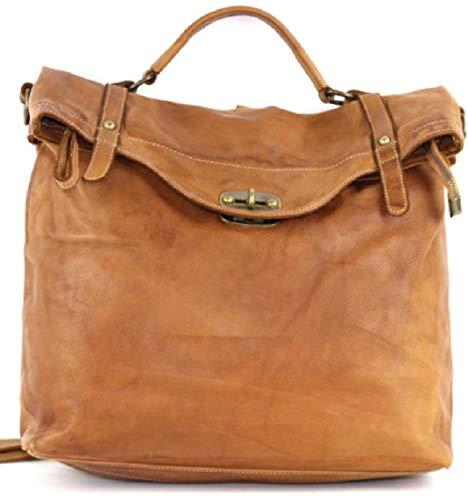BZNA Bag Gabi cognac Backpacker Designer Rucksack Damenhandtasche Schultertasche Leder Nappa ItalyNeu