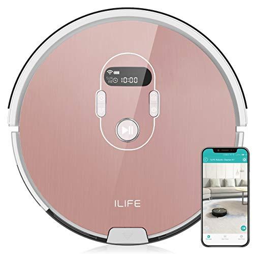 iLife A7 Automatische robotstofzuiger met app-bediening, wifi, met laadstation, ideaal voor dierenharen en laminaat, parket, tegels, stil, timer, zakloos, 600 ml stoftank, lcd-display, roségoud