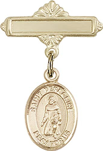 14kt Gold Baby Badge with St. Peregrine Laziosi Charm and Polished Badge Pin St. Peregrine Laziosi is the Patron Saint of Cancer/Running Sores 1 X 5/8