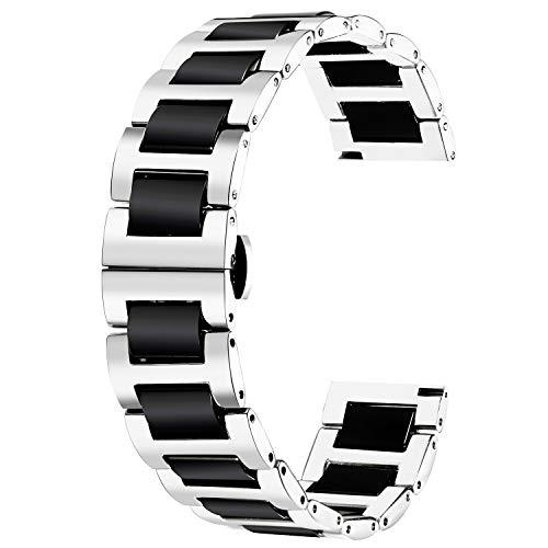 BINLUN Ersatz Armband Edelstahl Keramik Armband Poliert 12mm /14mm /18mm /20mm /22mm mit Butterfly Schnalle