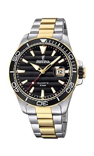 Festina Herren Analog Quarz Uhr mit Edelstahl Armband F20362/2