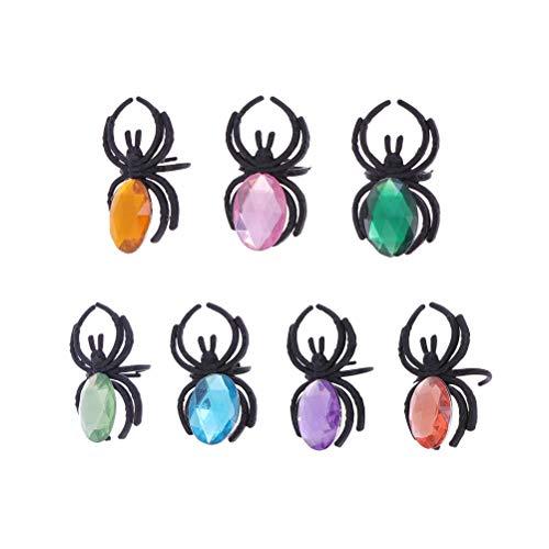 STOBOK 25 Stück Halloween Spielzeug fingerringe Kunststoff spinnenringe Kinder Diamant spinnenring parteibevorzugungen Spielzeug