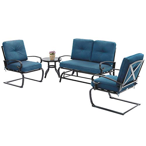Incbruce 4Pcs Outdoor Patio Furniture Conversation Sets (Loveseat, Bistro Table, 2 Spring Chair) - Swing Glider Rocking Patio Bench and Spring Metal Lounge Chairs Sets with Cushions (Peacock Blue)