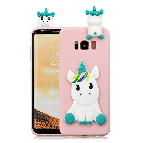 HopMore Funda Samsung Galaxy S8 Plus Silicona Motivo 3D Divertidas Unicornio Panda Bonita TPU Gel Ultrafina Slim Case Antigolpes Cover Protección Dibujo Gracioso Carcasa para Samsung S8 Plus - Rosado