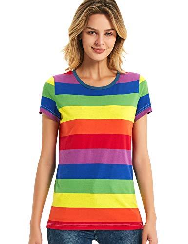 Zbrandy - Camiseta de Manga Corta para Mujer, diseño de Rayas de arcoíris Rayas arcoíris. M