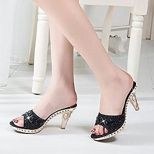 YHCS Tacones de Espiga Mujeres Bombas Sexy Tacones Altos Mujeres Crystal Fiesta Mujeres Zapatos Oro Open Toe Ladies Zapatos