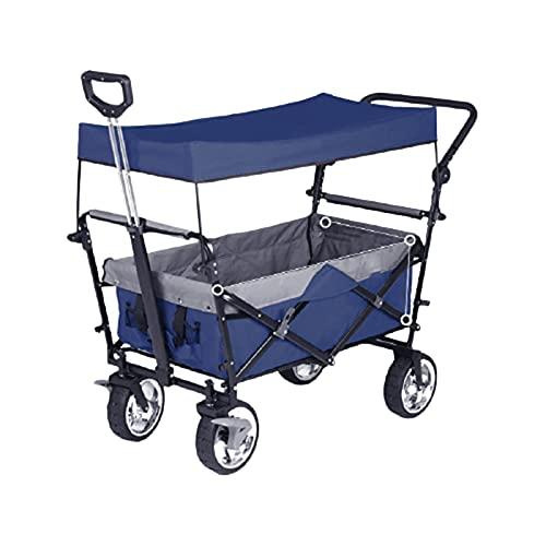 Handwagen Trolley vierrädriger Luxus-Einkaufs-Klappwagen Outdoor-Angeln Campinggürtel tragbarer Trolley,Blue