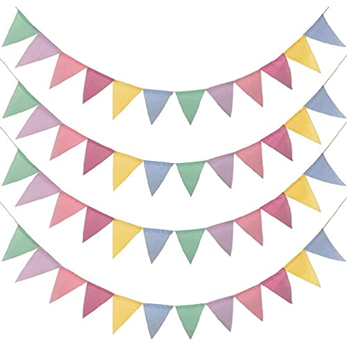 4Pcs 4 Meters 12 Pieces Funny Bunting Chains Banner Rainbow Colorful Faux Linen Garland for Wedding Party Decoration Wedding Party Birthday Decoration