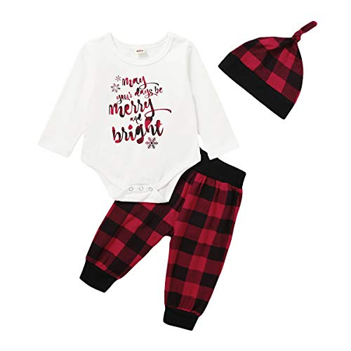 DEFAHN Christmas Outfit Baby Boy Girl Long Sleeve Romper + Plaid Pants + Hat 3 PCS Clothes Set (Merry and Bright, 12-18 Months)