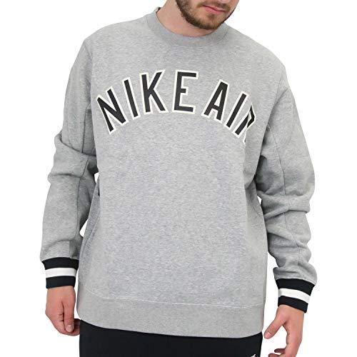 Nike M NSW Air Crew FLC T-Shirt Homme, Gris foncé/Noir (DK Grey Heather/DK Grey Heather/Black), XXL