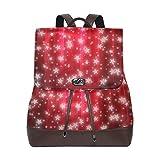 Star Weihnachts-Vorhang Abstrakt Rucksack Geldbörse Mode PU Leder Rucksack Casual Rucksack für Frauen