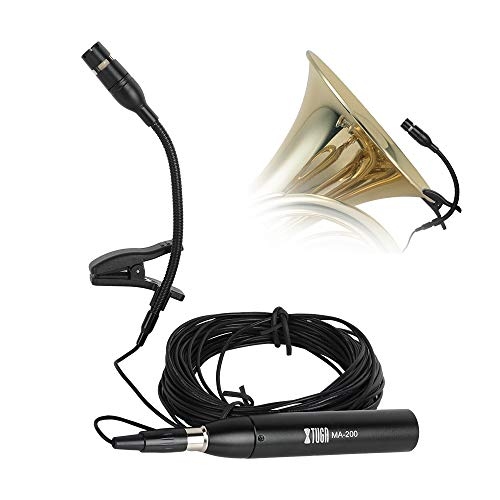XTUGA MA-200 Cardioid Condenser Instrument Microphone Designed for Instrument with 2 Stand Mount Clip,Clip-on Instrument Microphone Great for Saxophones,Piano,Guitar