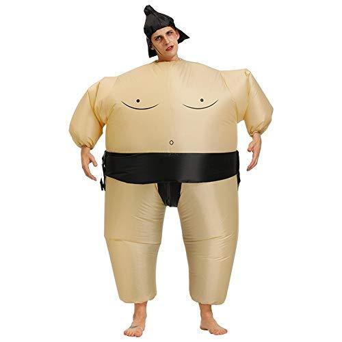 Aufblasbares Sumo Kostüm für Erwachsene Kinder Wrestler Kostüm Overall Fatsuit Sumo Ringer Fasching Karneval Kostüm Outfit Geschenk für Halloween Kostüme Party-Erwachsene (160cm-190cm)