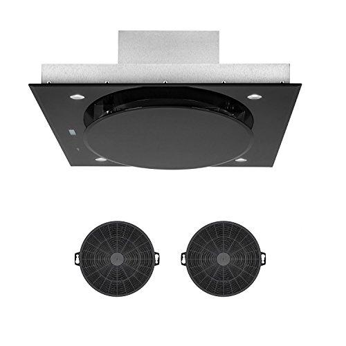 Klarstein Secret Service Set - Campana extractora de techo y 2 filtros de carbón, Encastrable, Potencia 220 W, Capacidad extracción 800 m³/h, Control Touch Cristal, Iluminación LED, 3 Niveles, Negro