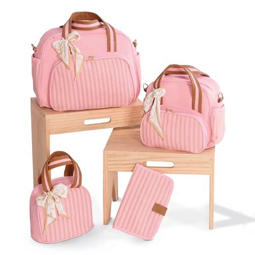 Kit Bolsa De Maternidade Gana Material Térmico Impermeável Cor: Rosa