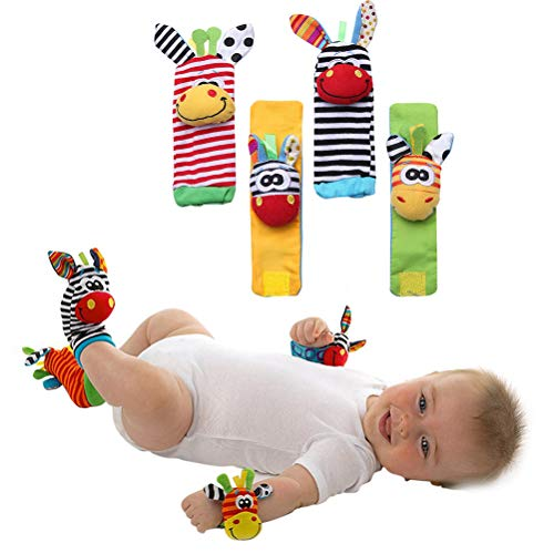 Pywee Babysocken, mit Rassel, Handgelenk, Armband und Fußkettchen, mit Rassel und Quietsche zur Stärkung der Eltern-Kind-Bindung ab 0 Monate, 4-TLG