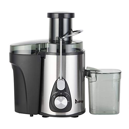 """ZOKOP Juicer Machine, Stainless Steel, Easy to Clean, Big Mouth 3"""" Feed Chute,Safety Lock Design, Anti-drip, Juice for Vegetables and Fruits, Juice Cup, Black"""