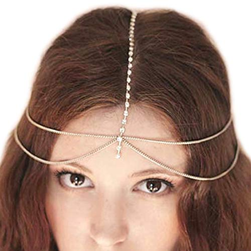 Fashband Rhinestone Head Chain Boho Headband Nupcial Head Chain Headpiece Vintage inspirado Fantasy Crown Tiara Fashion Hair Accessory Festival Jewelry para mujeres y niñas (oro)