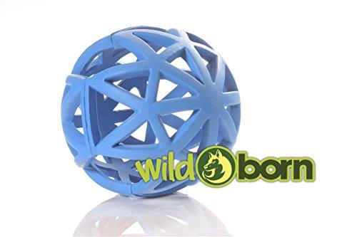 Wildborn Gitterball Hund | Gitterball Hundespielzeug Vollgummi Spielzeug | Kauspielzeug Gummiball für Hunde | Ball groß 12,5cm