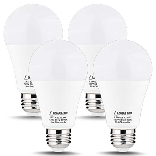 LOHAS A19 LED Bulb 100W Equivalent Daylight White 5000K(UL Listed), 1300LM E26 Medium Screw Base LED Lamps, Energy Efficient 13.5W Non- Dimmable Light Bulb for Chandelier, Home Lighting, 4 Pack