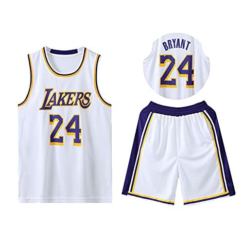 HAZYJT Traje de Baloncesto de Jersey - L.A. Lakers - # 24 Kobe Bean Bryant Sudadera y Pantalones Transpirables sin Mangas, Trajes para Hombres y Mujeres