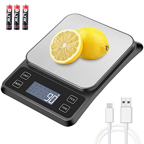 MOSUO Balance Cuisine Balance de Précision USB Rechargeable, 10kg/1g Balance de Cuisine Electronique Acier Inoxydable, Mesure du Liquide, LCD Rétroéclairé, Auto-arrêt, Piles Fournies
