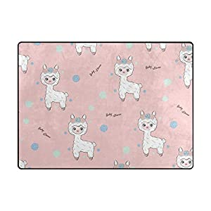 La Random Large Soft Rug 80×58 Inches Baby Llama Non-Skid Lightweight Kids Nursery Yoga Rugs Play Mat for Kids Playing Room Living Room Bedroom Floor Mats