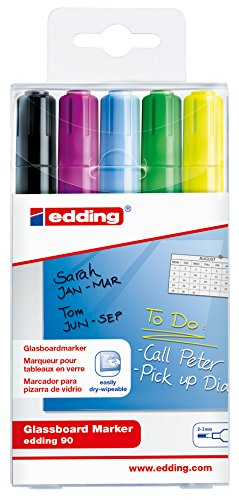 edding 90 Glassboard Marker - Sortierung 999 - 5er Set - Zum Beschriften von Glasboards und den meisten Glas-Oberflächen