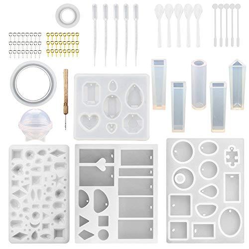 76 unids DIY silicona epoxi resina moldes con herramientas, joyería artesanía fabricación, pendientes/collar/pulsera/móvil. Varias formas, materiales y colores moldes moldes