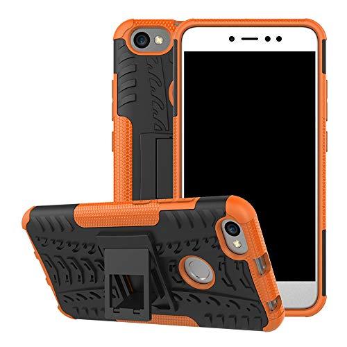pinlu® Funda para Xiaomi Redmi Note 5A Smartphone Doble Capa Híbrida Armadura Silicona TPU + PC Armor Heavy Duty Case Duradero Protección Neumáticos Patrón Naranja