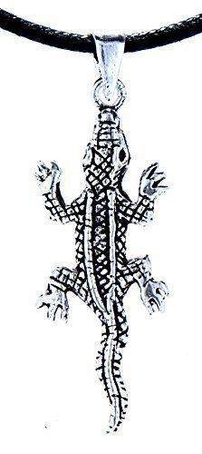 Kiss of Leather Zierlicher Krokodil Anhänger aus 925 Sterling Silber mit Baumwollband