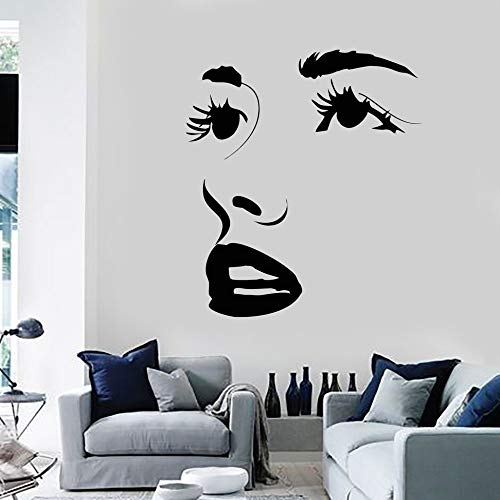 Etiqueta engomada de la pared del labio del ojo Etiqueta engomada del salón de belleza Etiqueta engomada de la pared del papel pintado Mural impermeable 28 * 34cm