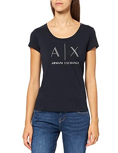 ARMANI EXCHANGE Strass Logo T-Shirt, Blu (Navy 1510), Small Donna