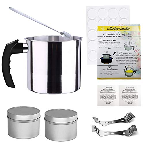 MoneRffi Candle Making Pouring Pot 2 Pounds DIY Candle Making Kit Candle Melting Pot Aluminum Construction Wax Melting Pot with Heat-Resisting Handle&Pouring Spout for Candle Making