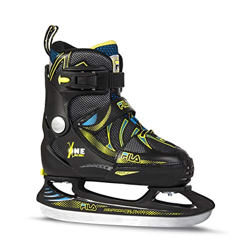 FILA Skates X-One Ice Schlittschuhe Unisex Kinder, Schwarz/Gelb/Blau, 38