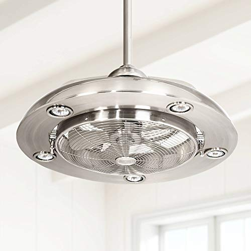 """24"""" Segue Possini Modern Indoor Ceiling Fan with Light LED Remote Control Brushed Nickel for Living Room Kitchen Bedroom Family Dining - Possini Euro Design"""