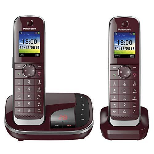 Panasonic KX-TGJ322GR Familien-Telefon mit Anrufbeantworter (schnurloses Telefon DUO, 2 Mobilteile, strahlungsarm, Anrufschutz) weinrot