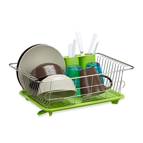 Relaxdays Egouttoir à vaisselle en inox porte couverts vert bac plastique vert HxlxP: 15,5 x 40 x 30 cm, vert gris