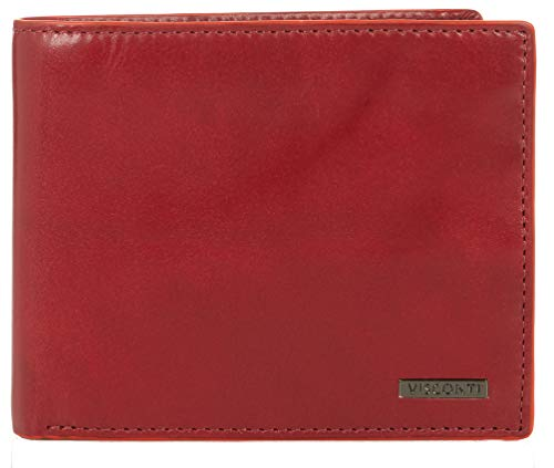 Visconti Trifold Leder Herren Geldbörse Alps Luxury Leather Wallet (AP52) RFID: (Rot/Orange (Red/Orange))