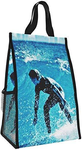 Bolsa de almuerzo plegable, bolso de picnic de gran capacidad portátil con aislamiento para surf, para viajes de oficina de trabajo