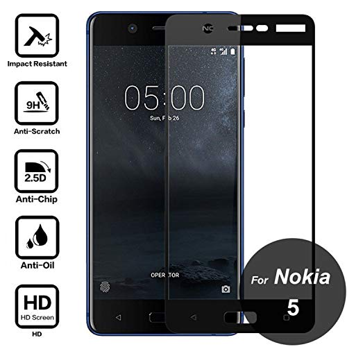 Protector de Pantalla para,For 5 Tempered Glass 9H Full Cover Screen Protector Covering Protective Film On 5 TA-1008 TA-1024 TA-1027 TA-1053 White For Nokia 5