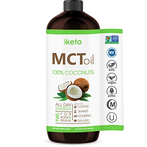 Organic MCT Oil Non GMO Coconuts Keto & Paleo Diet Friendly - Coffee Shakes & Salads. BPA Free 32oz