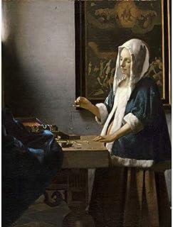 Impression sur toile Johannes Vermeer - Femme tenant un équilibre - Décoration murale