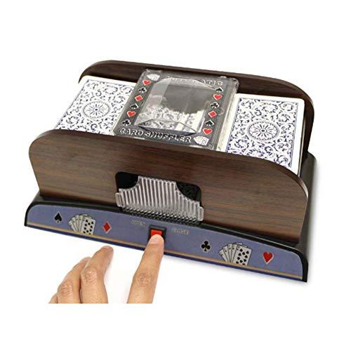 Ganmaov Elektrische Automatische Kartenmischmaschine, UNO Kartenmischmaschine, Hölzerner kartenmischer Poker Shuffler für Poker-Set, Brettspiel-Poker-Spielkarten (10*14*24cm)